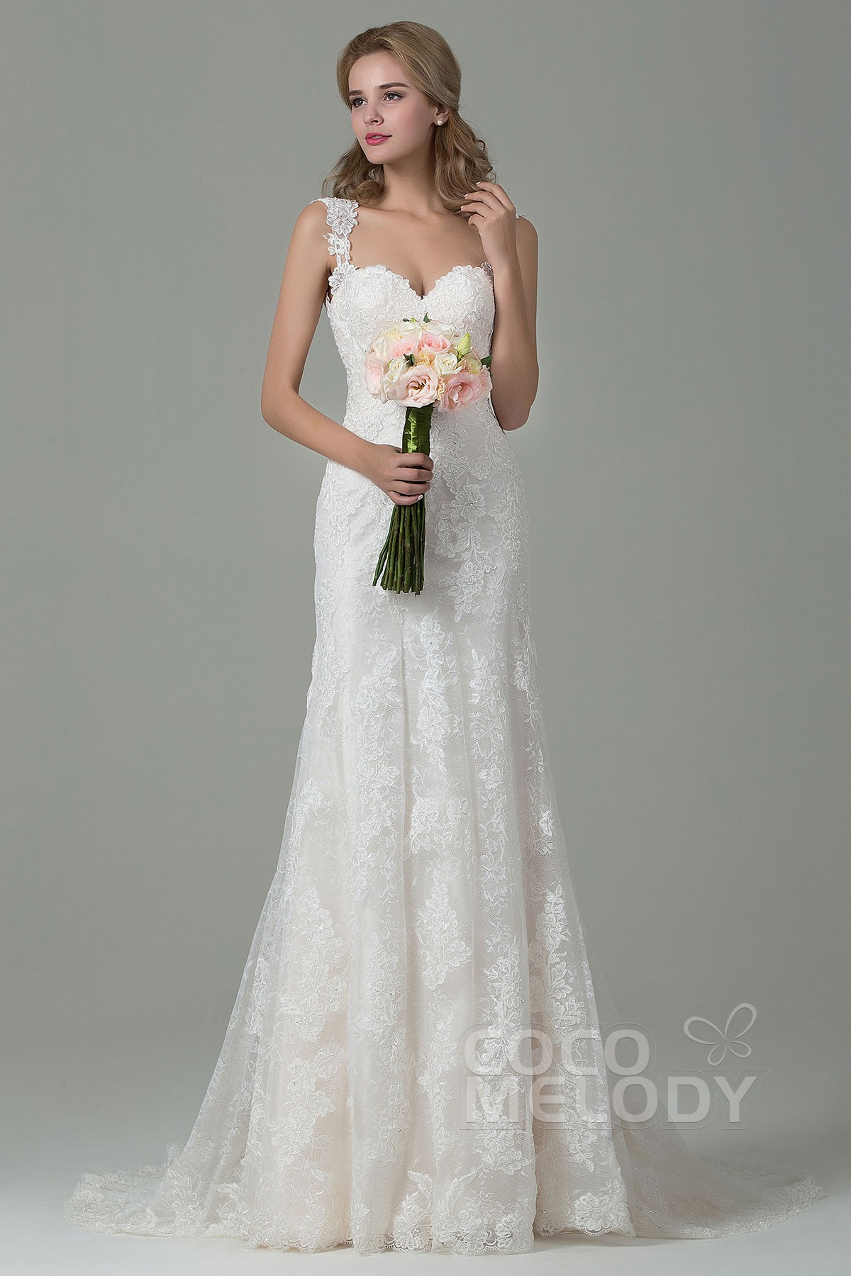 Sheath-Column Straps Court Train Wedding Dress CWVT15002