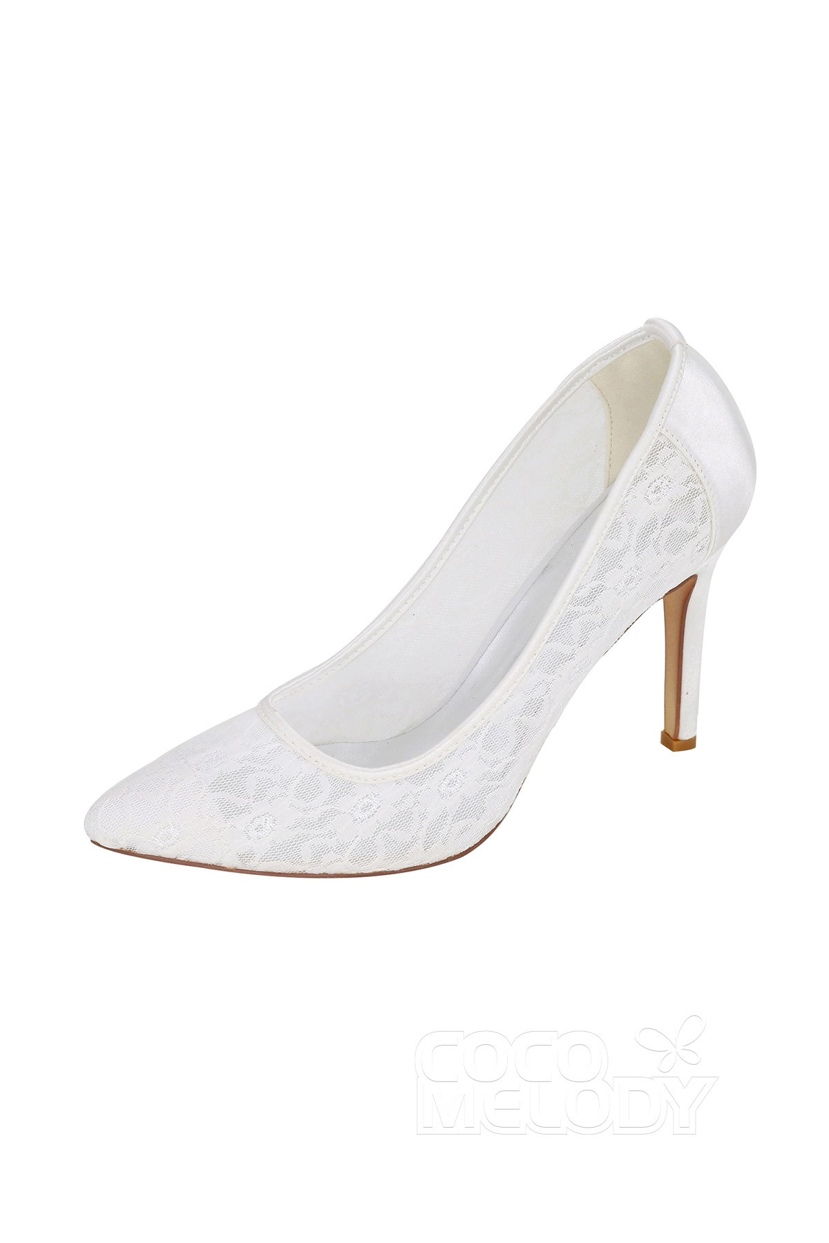 6d6cd4cd0667 Stiletto Heel 9.8cm Heel Lace Stitching Lace Pointed Toe Bridal Shoes  SWS16035